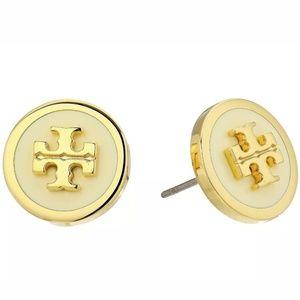 Tory Burch Gold/White Raised Logo Stud Earrings